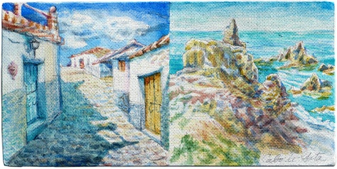 A pair of quick sketches on the gessoed rough side of a masonite board. These are relatively underdeveloped, so I hesitated in including them here, but they tell part of the story. Left is Macharaviaya - a whitewashed town near Málaga. Right is a view of the Mediterranean from the coastal cliffs of Cabo de Gata.