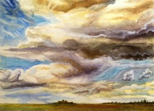 """An evening sketch from January 5, 2007, done from the road leading to the Pa-hay-okee Overlook. The hyphened word is a native American term given to the Everglades, meaning """"Grassy Water."""""""